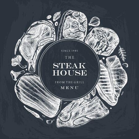 Beef steaks vector wreath design.