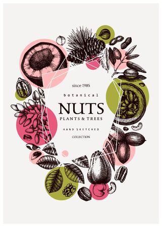 Hand drawn nut wreath design.