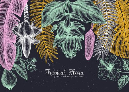 Tropical paradise frame design. With hand drawn exotic flowers and palm leaves sketches. Tropical wedding invitation or card template.  Exotic plants vintage background. Vector botanical illustration. Çizim