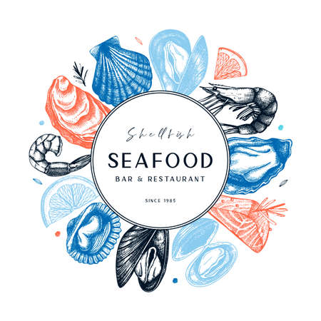 Vector frame with hand drawn seafood illustration - fresh fish, oyster, mussel, shrimps and spice. Decorative card or flyer design with sea food sketch. Vintage menu template.