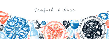Seafood and wine banner design. Shellfish frame with mollusks, shrimps, fish sketches. Perfect for recipe, menu,  delivery, packaging. Vintage mussels and oyster background