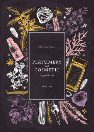 Hand drawn perfumery and cosmetics ingredients design on chalk board. Decorative background with vintage aromatic plants, fruits, spices, herbs for perfumery. Organic cosmetics template on chalkboard. Aromatic plants flyer