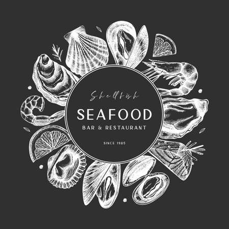Vector frame with hand drawn seafood -  fresh fish, oyster, mussel, shrimps and spice on chalkboard. Decorative card or flyer design with sea food sketch. Vintage menu template. Illusztráció