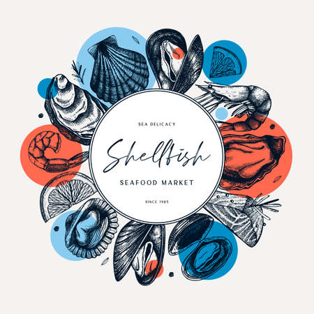 Seafood trendy collage design. Shellfish frame with abstract elements. Mollusks, shrimps, fish sketches. Perfect for recipe, menu, label, delivery, packaging. Vintage mussels and oysters background. Healthy food illustration.