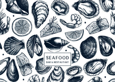 Vector background with hand drawn shellfish illustrations - clams, oysters, mussels, shrimps sketches. Decorative card or flyer design with seafood sketch. Vintage sea food menu template.
