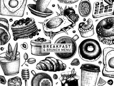 Breakfast table top view banner. Morning food and hot drinks menu vector template. Breakfast and brunch dishes background. Vintage hand drawn food sketches. Engraved style breakfast design. 向量圖像