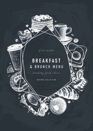 Breakfast trendy design on chalk board. Morning food and drinks frame with abstract elements. Breakfast and brunch sketches. Perfect for recipe, menu, label, icon, packaging. Vintage food background on chalkboard