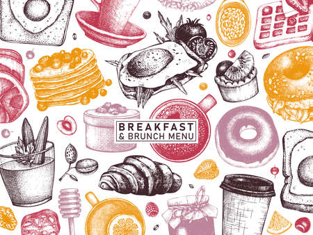 Breakfast table banner in color. Morning food and hot drinks menu vector template. Breakfasts and brunches dishes background. Vintage hand drawn food sketches. Engraved style breakfast top view design.