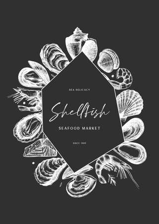 Hand sketches seafood frame design on chalkboard. Vector fresh fish, oyster, mussel, shrimps and caviar sketches. Hand drawing. Vintage flyer with restaurant delicacy food illustrations. Shellfish menu template.  イラスト・ベクター素材