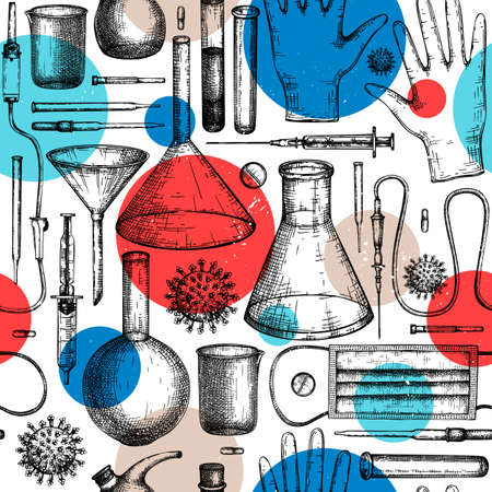 Coronavirus COVID-19 seamless pattern. Medicine equipment and protectors against corona virus or other infection. Hand drawn laboratory equipment sketches background. Virus backdrop in collage style.