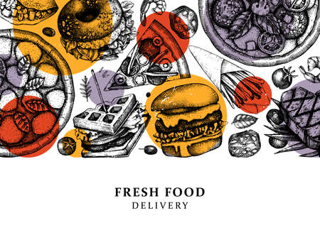Hand drawn food delivery illustrations. Vintage background for restaurant, cafe or fast food truck menu. With engraved elements - burger, steak, fries, pizza sketches.