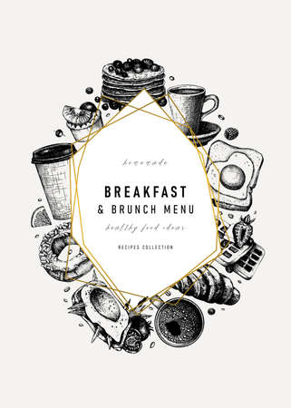 Breakfast trendy design. Morning food and drinks frame with abstract elements and golden foil. Breakfast and brunch sketches. Perfect for recipe, menu, label, icon, packaging. Vintage food background in vintage style Vettoriali