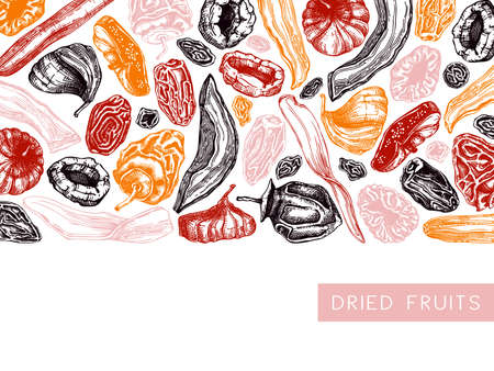 Dried fruits and berries frame design. Vintage dehydrated fruits in color template. Delicious healthy dessert - dried mango, melon, fig, apricot, banana, persimmon, dates, prune, raisin. Oriental sweets vector background