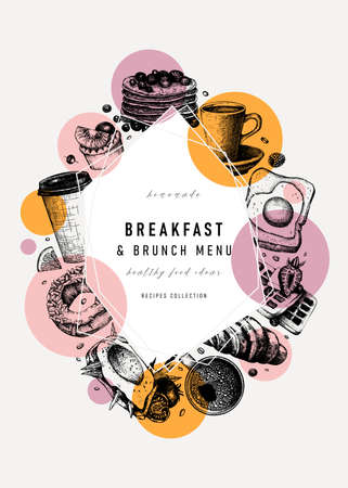 Breakfast trendy design. Morning food and drinks frame with abstract elements and geometric shapes.. Breakfast and brunch sketches. Perfect for recipe, menu, label, icon, packaging. Vintage food background in vintage style Vettoriali