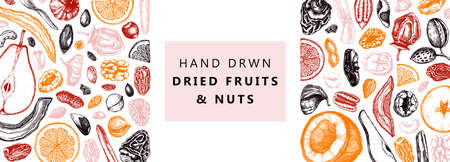 Dried fruits and nuts banner. Hand drawn dehydrated fruits sketches. Vintage nuts illustrations. For vegan food, snacks, healthy breakfast, granola, baking, desserts. Engraved style design. Vettoriali