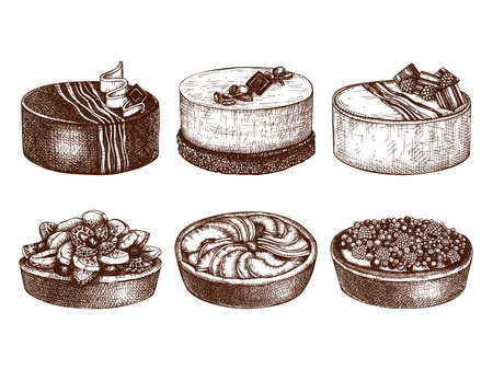 Fruit and berry deserts collection. Hand drawn baking cakes and pies. Homemade fruits dessert drawing. Sweet bakery set. Top view illustration for food delivery, cafe or restaurant vector menu template