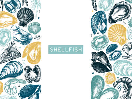 Hand drawn Seafood vector frame design. With fresh fish, lobster, crab, shellfish, squid, mollusks, caviar, shrimps drawings. Vintage sea food sketches menu template Illusztráció