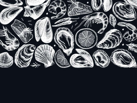 Hand drawn Seafood vector design on chalk board. With fresh fish, lobster, crab, shellfish, squid, caviar,shrimps. Vintage sea food sketches menu template Ilustração