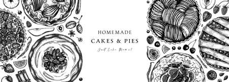 Berries cakes and pies banner. Hand drawn baking cakes, pies and fresh berries design in color. Homemade summer dessert recipe book template. Top view illustration for food delivery, cafe menu, recipe