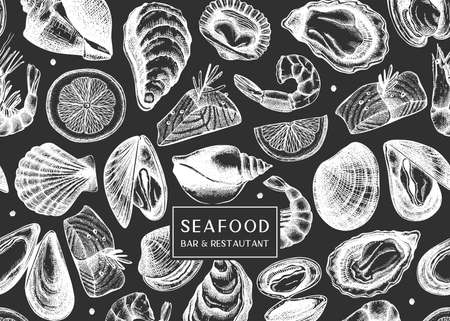 Vector background on chalkboard with hand drawn shellfish illustrations - clams, oysters, mussels, shrimps sketches. Seafood flyer design. Vintage sea food menu template. For delivery, bar or restaurant.