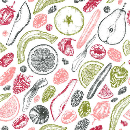 Dried fruits and berries seamless pattern. Hand drawn dehydrated fruits background with dried mango, melon, fig, apricot, banana, persimmon, dates, prune, raisin. For vegan food, snacks, healthy breakfast, granola, desserts designs
