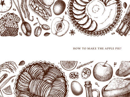 American apple pie and pear cooking process banner. Hand drawn baking cakes, pies and ingredients design. Homemade fruits dessert recipe book template. Top view illustration for food delivery, cafe, restaurant menu, recipe vector. Vettoriali