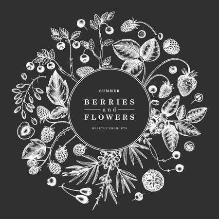 Hand drawn berries frame engraved style. Wild berries and flowers design. Hand drawing. Vintage forest plants sketch. Summer berries outline. Healthy food ingredient. Иллюстрация