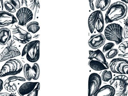 Hand drawn Seafood vector frame design. With fresh fish, lobster, crab, shellfish, squid, mollusks, caviar, shrimps drawings. Vintage sea food sketches menu template