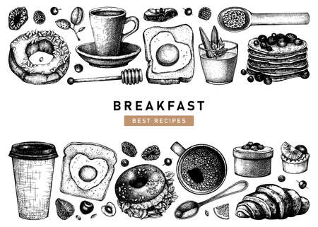 Hand sketched breakfast illustrations collection. Morning food and hot drinks menu vector template. Breakfast and brunch dishes background. Vintage hand drawn food sketches. Engraved style breakfast design.