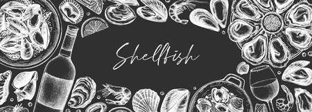 Seafood and wine banner design on chalkboard. Shellfish frame with mollusks, shrimps, fish sketches. Perfect for recipe, menu, delivery, packaging. Vintage mussels and oyster background on chalk board