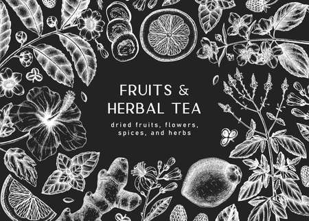 Hand sketched herbal tea ingredients background on chalkboard.  Perfect for recipe, menu, label, icon, packaging, Vintage herbs and fruits outlines. Botanical design