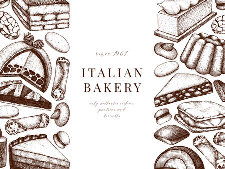 Italian bakery banner. With hand drawn desserts, pastries, cookies sketch illustration. Baking menu design elements. Traditional italian sweets background
