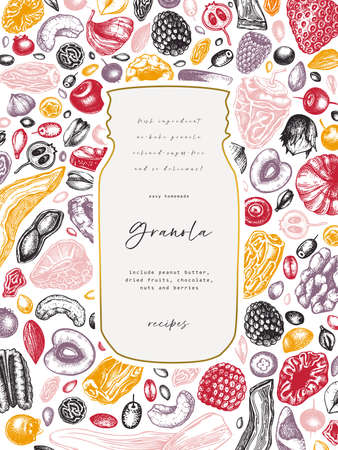 Granola vintage design. Engraved style healthy breakfast illustration. Homemade granola with different berries, cereals, dried fruits and nuts frame. Healthy food template with golden and engraved elements Vettoriali
