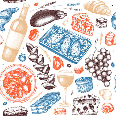 French food and drinks seamless pattern in color. Traditional cuisine of France - dishes, beverages, snacks - hand drawings. Hand drawn food vector background
