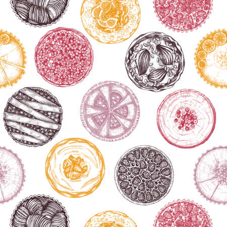 Fruit and berry baking cakes seamless pattern. Hand drawn desserts backdrop. Homemade cakes recipe drawing. Sweet bakery vintage background. For food delivery, recipe, cafe menu design.