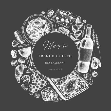 Hand sketched French cuisine vintage design on chalkboard. Delicatessen food and drinks trendy background. Perfect for recipe, menu, label, packaging. Vintage french food and beverages template.  Restaurant wreath