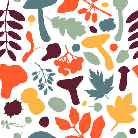 Hand drawn fall seamless pattern. Autumn botanical backdrop in flat style. Fall season flat illustration with forest leaves, mushrooms, nuts and berries silhouettes. Trendy vautumn background