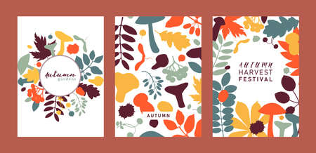 Hand drawn fall designs in color. Autumn botanical cards collection in flat style. Fall season flat illustration with forest leaves, mushrooms, nuts and berries silhouettes. Trendy vector  invitation template.