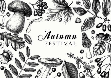 Hand sketched fall leaves wreath design. Autumn forest trendy background. Perfect for recipe, menu, label, icon, packaging. Vintage leaves, mushrooms, nuts, seeds template. Botanical illustration