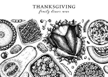 Thanksgiving dinner menu design. With roasted turkey, cooked vegetables, rolled meat, baking cakes and pies sketches. Vintage autumn food frame. Thanksgiving day background.