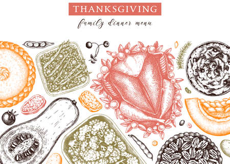 Thanksgiving dinner menu design in color. With roasted turkey, cooked vegetables, rolled meat, baking cakes and pies sketches. Vintage autumn food frame.  Thanksgiving day background.
