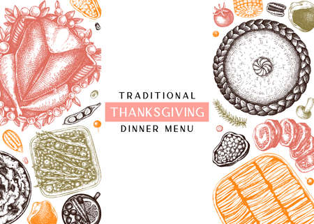 Thanksgiving dinner menu design in color. With roasted turkey, cooked vegetables, rolled meat, baking cakes and pies sketches. Vintage autumn food frame. Thanksgiving day background. Иллюстрация