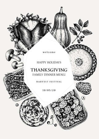 Thanksgiving day dinner wreath design. With roasted turkey, cooked vegetables, rolled meat, baking cakes and pies sketches. Vintage autumn food template. Thanksgiving day background. Ilustração
