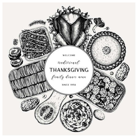 Thanksgiving day dinner menu round design. With roasted turkey, cooked vegetables, rolled meat, baking cakes and pies sketches. Vintage autumn food wreath. Thanksgiving day background.  イラスト・ベクター素材