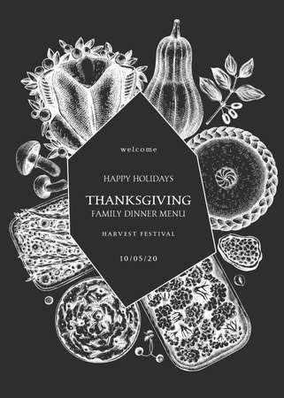 Thanksgiving day dinner menu design ion chalkboard. With roasted turkey, cooked vegetables, rolled meat, baking cakes and pies sketches. Vintage autumn food wreath. Thanksgiving day background.