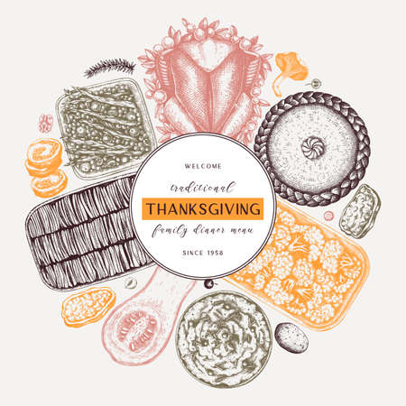 Thanksgiving day dinner menu round design in color. With roasted turkey, cooked vegetables, rolled meat, baking cakes and pies sketches. Vintage autumn food wreath. Thanksgiving day background.