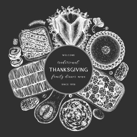 Thanksgiving day dinner menu design on chalkboard. With roasted turkey, cooked vegetables, rolled meat, baking cakes and pies sketches. Vintage autumn food wreath. Thanksgiving day background.  イラスト・ベクター素材