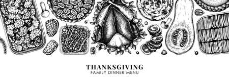 Thanksgiving food banner design. With roasted turkey, cooked vegetables, rolled meat, baking cakes and pies sketches. Vintage autumn food template. Thanksgiving day background. Иллюстрация