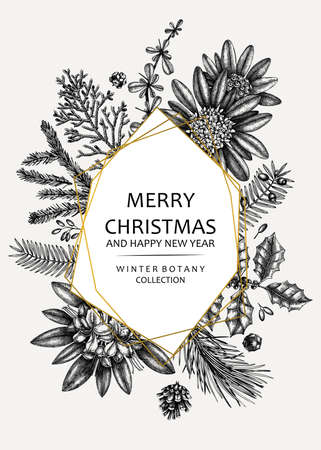 Christmas greeting card or invitation design. Golden foil elements. Vector frame with hand sketched winter flowers, conifers and evergreen plants. Vintage botanical background. Christmas template.
