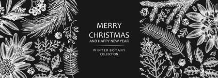 Christmas banner design on chalkboard. Vector frame with hand sketched winter flowers, evergreen plants and con. Vintage background with botanical elements. Engraved style vintage winter illustration. Иллюстрация